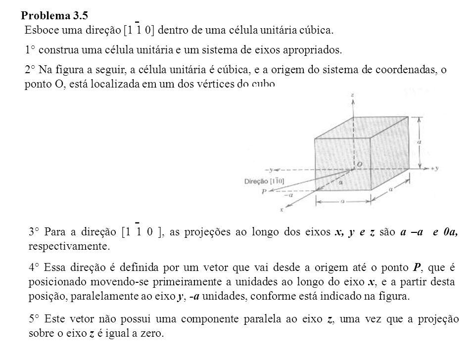 Problema 3.5 - Esboce uma direção [1 1 0] dentro de uma célula unitária cúbica. 1° construa uma célula unitária e um sistema de eixos apropriados.